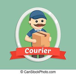 livraison, emblème, graisse, courrier, homme