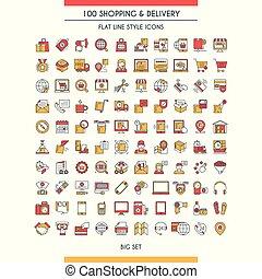 livraison, ensemble, achats, icônes