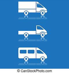 livraison, ensemble, expédition, boutons, vecteur, voiture