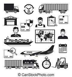 livraison, ensemble, noir, logistique, icônes