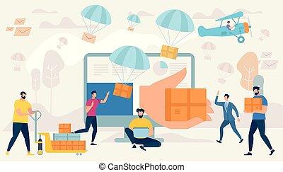 livraison, exprès, caractères, shopping., gens
