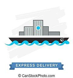 livraison, exprès, symbols., shipping.