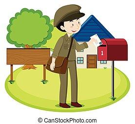 livraison, facteur, lettre