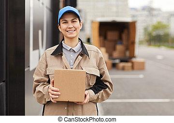 livraison, femme, fonctionnement, compagnie