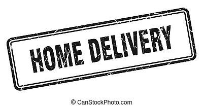 livraison, grunge, signe, blanc, carrée, stamp., fond, maison