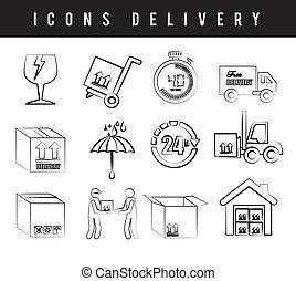 livraison, icônes