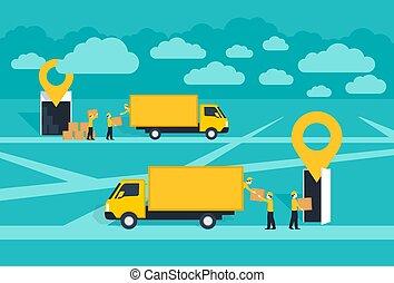 livraison, illustration, service, porte à porte