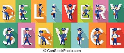 livraison, image, coloré, service, collection