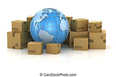 livraison, international, concept, paquet