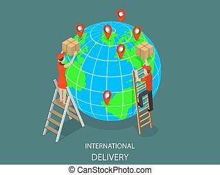 livraison, international, isométrique, vector., plat