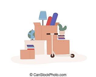 livraison, isolé, dessin animé, replacer, coloré, prêt, en ...