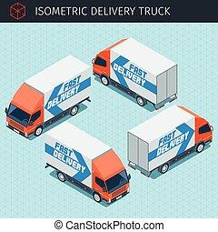 livraison, isométrique, camion