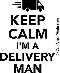 livraison, je suis, homme, calme, garder
