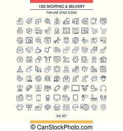 livraison, ligne, achats, icônes