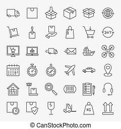 livraison, ligne, ensemble, icônes