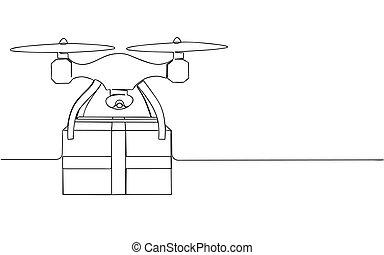 livraison, ligne., isolé, vecteur, une, quadrocopter., dessiné, paquet, illustration, stockage