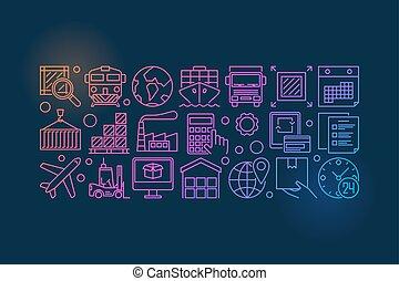 livraison, logistique, coloré, illustration