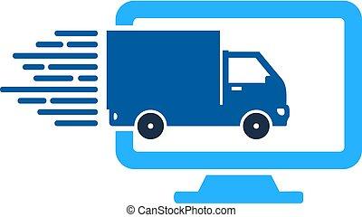livraison, logo, informatique, conception, icône