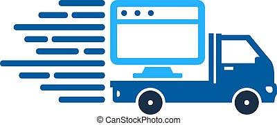 livraison, logo, ligne, conception, icône