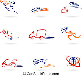 livraison, logos, icônes