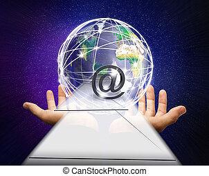 livraison, mains, mondiale, courrier