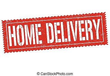 livraison, maison, caoutchouc, grunge, timbre