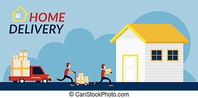 livraison, maison, service