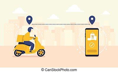 livraison, mobile, courier., scooter, ville, poursuite, homme, service, horizon, arrière-plan., nourriture, application, moped.
