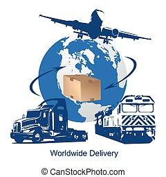 livraison, mondial, concept