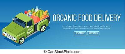 livraison, nourriture, organique, camion