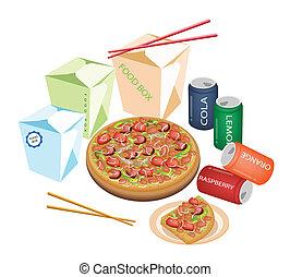 livraison, nourriture, pour, emporter, à, maison