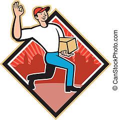 livraison, ouvrier, livrer, dessin animé, paquet