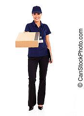 livraison, ouvrier, paquet, livrer