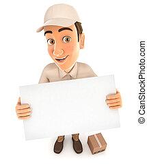 livraison, panneau affichage, homme, tenue, 3d