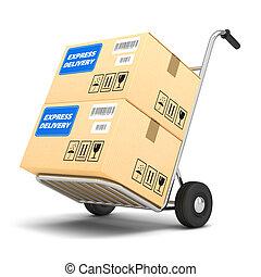 livraison, paquets, charrette