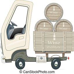 livraison, petit, baril, camion, vin