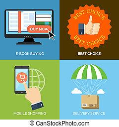 livraison, plat, concept, achats, service., icônes, mobile, business., choix, mettez stylique, achat, mieux, e-livre