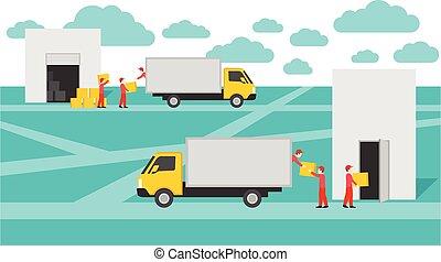 livraison, porte, entrepôt
