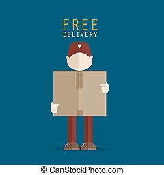 livraison, porter, homme, paquet