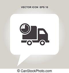 livraison rapide, vecteur, camion, minuteur, icône
