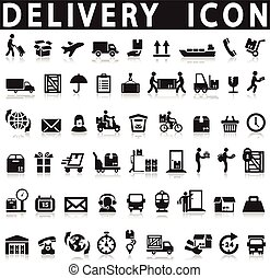 livraison, set., icônes
