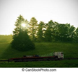 livraison, soleil, camion, arbres