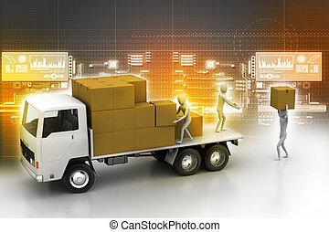 livraison, transport, camions, fret