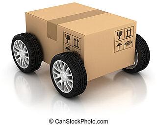 livraison, transport, en mouvement