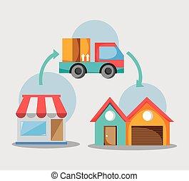livraison, transport expédition, business, service