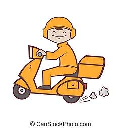 livraison, utilisation, scooter, jeûne, service