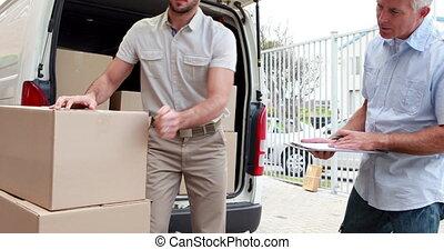livraison, vérification, chauffeur, sien, liste