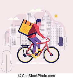 livraison, va bicyclette courrier, homme