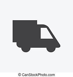 livraison, vecteur, camion, icône