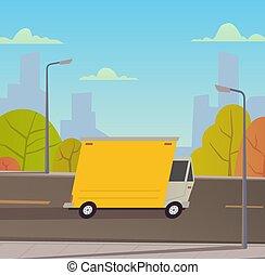 livraison, vecteur, camion, illustration, services.